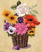Pansies & White Rose in Basket (*)
