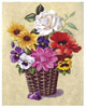 Pansies and White Rose Basket (*)