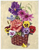 Pansies and Peach Rose Basket (*)