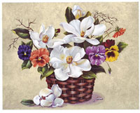 Pansies and Magnolia Basket (*)