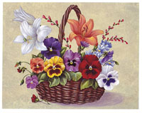 Pansies and Lilies Basket (*)